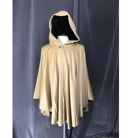 Cloak and Dagger Creations 4208 - Golden Tan Wool Blend Ruana-style Cloak, Hunter Green Cotton Velvet Hood Lining, Pewter Vale Clasp