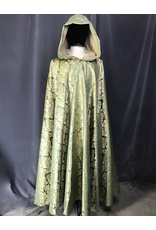 Cloak and Dagger Creations 4209 - Mantis Green w/Gold Formal Vase & Leaf Full Circle Easy Care Cloak, Buff Faux Suede Hood Lining,