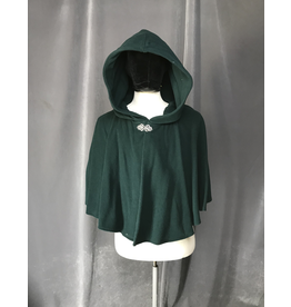 Cloak and Dagger Creations 4214 - Pine Green Shaped Shoulder Short Cloak w/Pockets, Pewter Vale-type Clasp