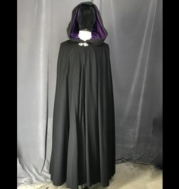 Cloak and Dagger Creations 4220 - Black Wool Blend Full Circle Cloak, Purple Velveteen Hood Lining, Pewter Triple Medallion Clasp