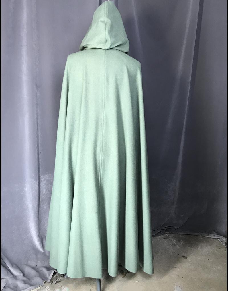 Cloak and Dagger Creations 4228 - Sea Foam Green Full-Length Cloak, Wool Blend, Matching Velveteen Hood Lining, Pewter Triple Medallion Clasp