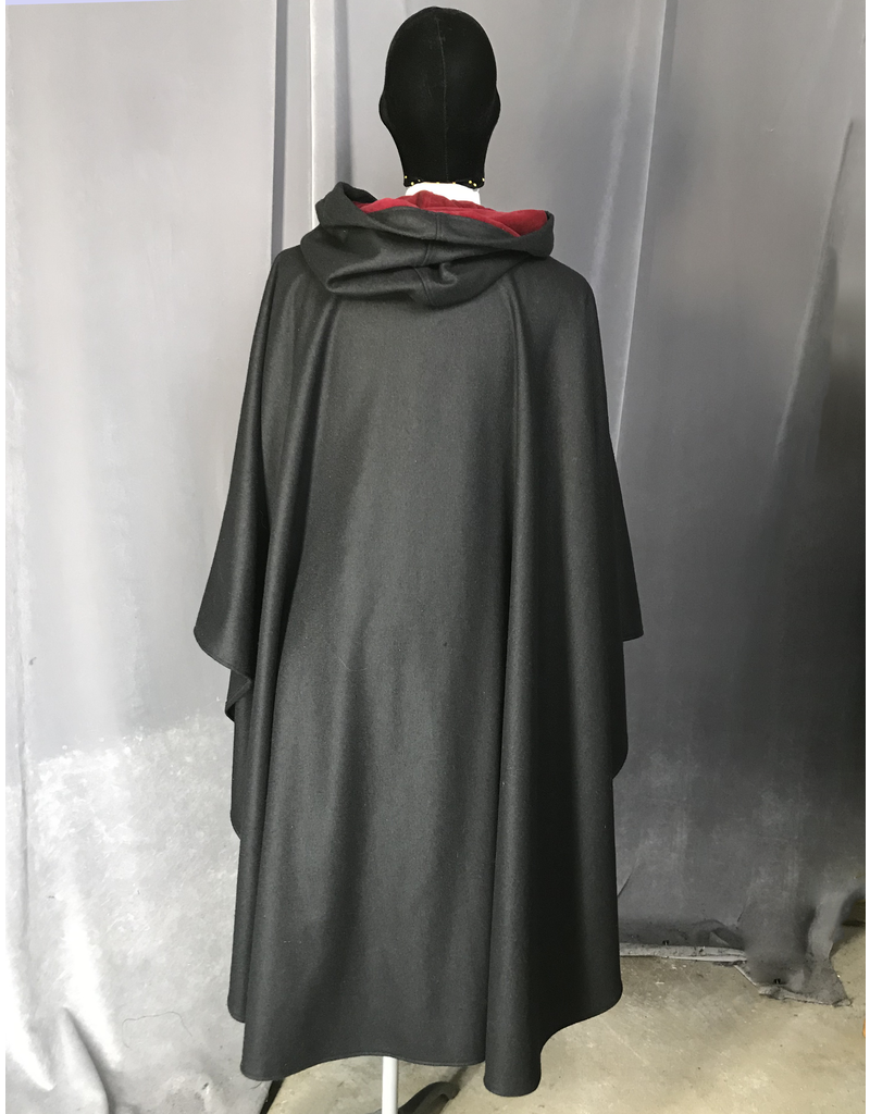Cloak and Dagger Creations 4238 - Black Wool Blend Ruana-Style Full Circle Cloak, Scarlet Red Cotton Velveteen Hood Lining, Pewter Vale-Type Clasp