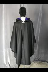 Cloak and Dagger Creations 4240 - Black Wool Blend Ruana-Style Cloak, Electric Indigo Silk Velvet Hood Lining, Pewter Vale-type Clasp