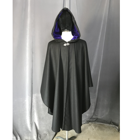 Cloak and Dagger Creations 4240 - Black Wool Blend Ruana-Style Cloak, Electric Indigo Silk Velvet Hood Lining, Pewter Vale-type Clasp