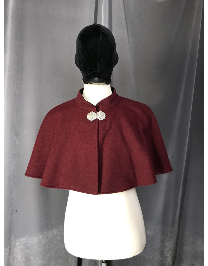 Cloak and Dagger Creations 4243 - Burgandy Red Shaped Shoulder Cloak w/ Pockets, Collar, Pewter Round Triscale Clasp