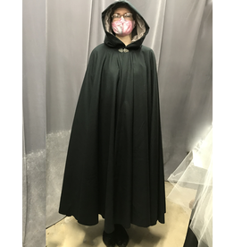 Cloak and Dagger Creations 4250 - Black Wool Cloak, Faun Grey Velvet Hood Lining, Pewter Vale-Style Clasp