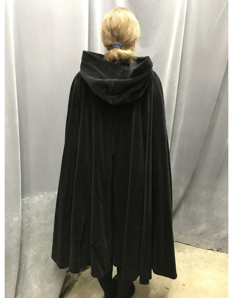 Cloak and Dagger Creations 4172 - Black  Cotton Velvet Shaped Shoulder Cloak, Unlined Hood, Snap Closure,