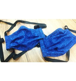 Cloak and Dagger Creations 3 Layer Pleated Face Mask, Navy Formal  Scroll on Blue  Cotton & Silk