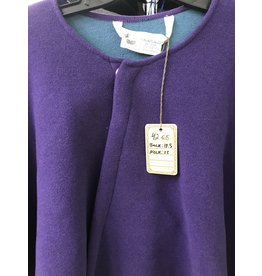 Cloak and Dagger Creations 4265 - Winter Cloak in Violet Wool Blend w/Teal Interior, Snap Closure, Hoodless