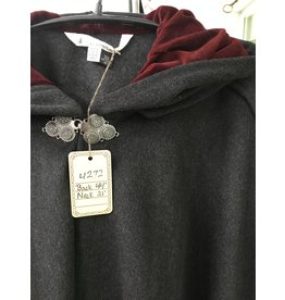 Cloak and Dagger Creations 4272 – Winter Ruana Cloak in Charcoal Gray Wool, Shaped Shoulder, Red Hood Lining, Triple Medallion Clasp