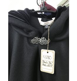 Cloak and Dagger Creations 4280 - Cloak in Black Wool, Black Hood Lining, Pewter Vale Clasp