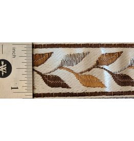 Cloak and Dagger Creations Linked Leaves Trim Narrow, Browns on Cream