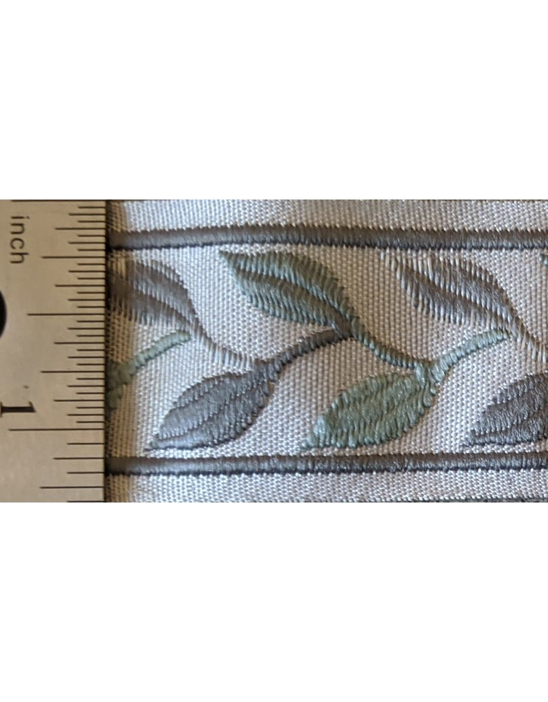 Cloak and Dagger Creations Linked Leaves Trim  Narrow - Greys on Cream