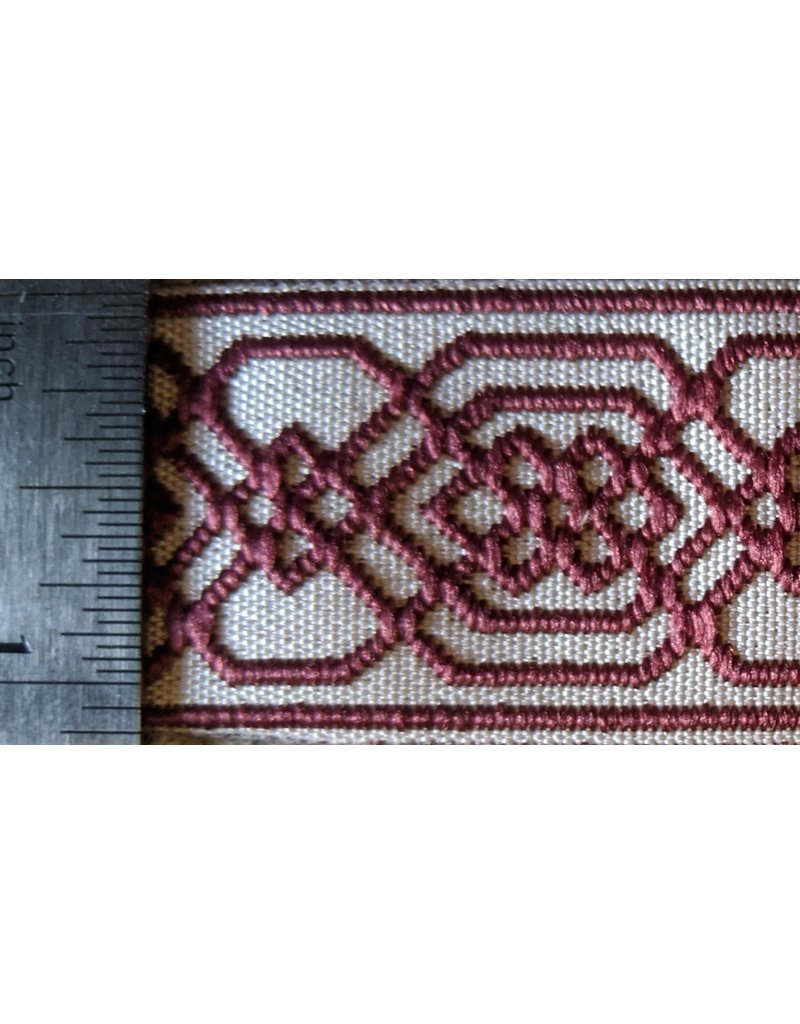 Cloak and Dagger Creations Double Celtic Chained Knot Narrow, Burgandy on Cream