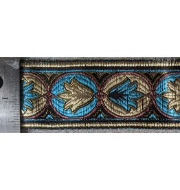 Cloak and Dagger Creations Lotus Lots Trim - Turquoise/Brown/Gold on Black