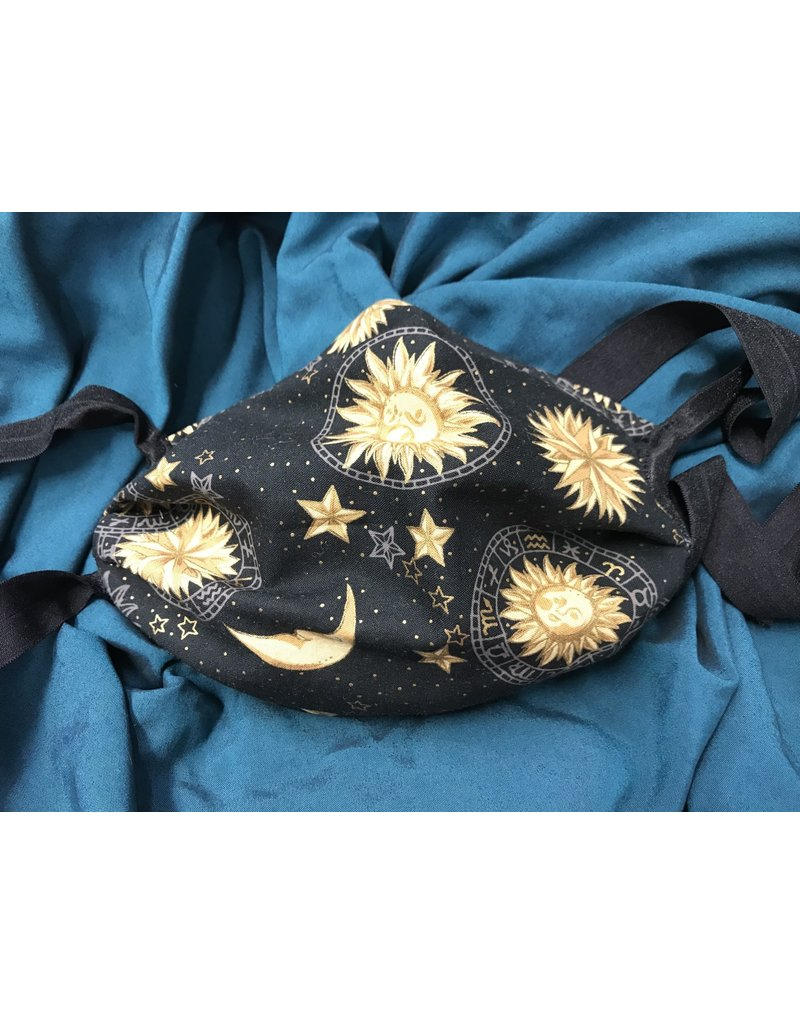 Cloak and Dagger Creations 3 Layer Pleated Face Mask - Black Celestial - Cotton & Silk w/Elastic Ties