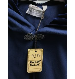 Cloak and Dagger Creations 4288 - Short Cloak in Blue Wool Blend w/Dark Blue Hood, Pewter Clasp