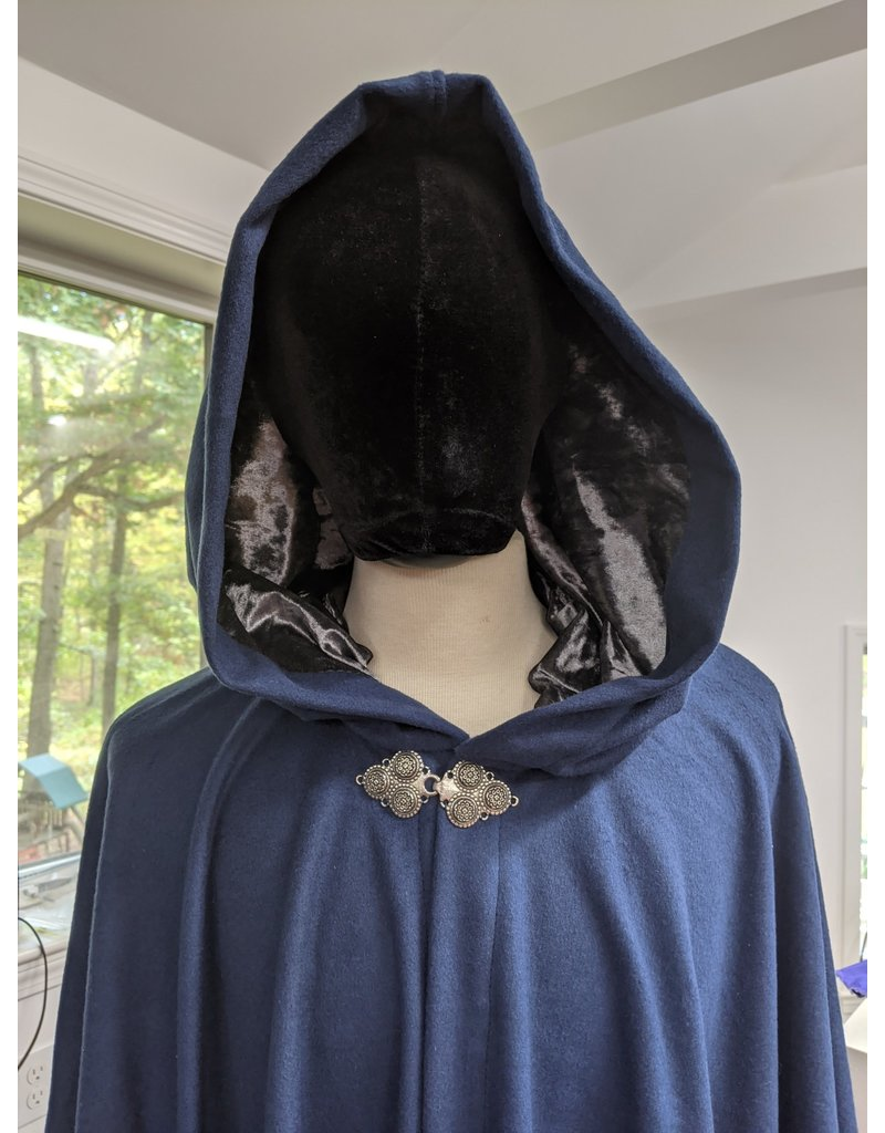 Cloak and Dagger Creations 4287 - Full Circle Cloak in Blue Wool, Grey Hood Lining, Pewter Clasp