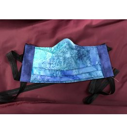 Cloak and Dagger Creations 3 Layer Pleated Face Mask - Salt Dye Batik - Cotton & Silk