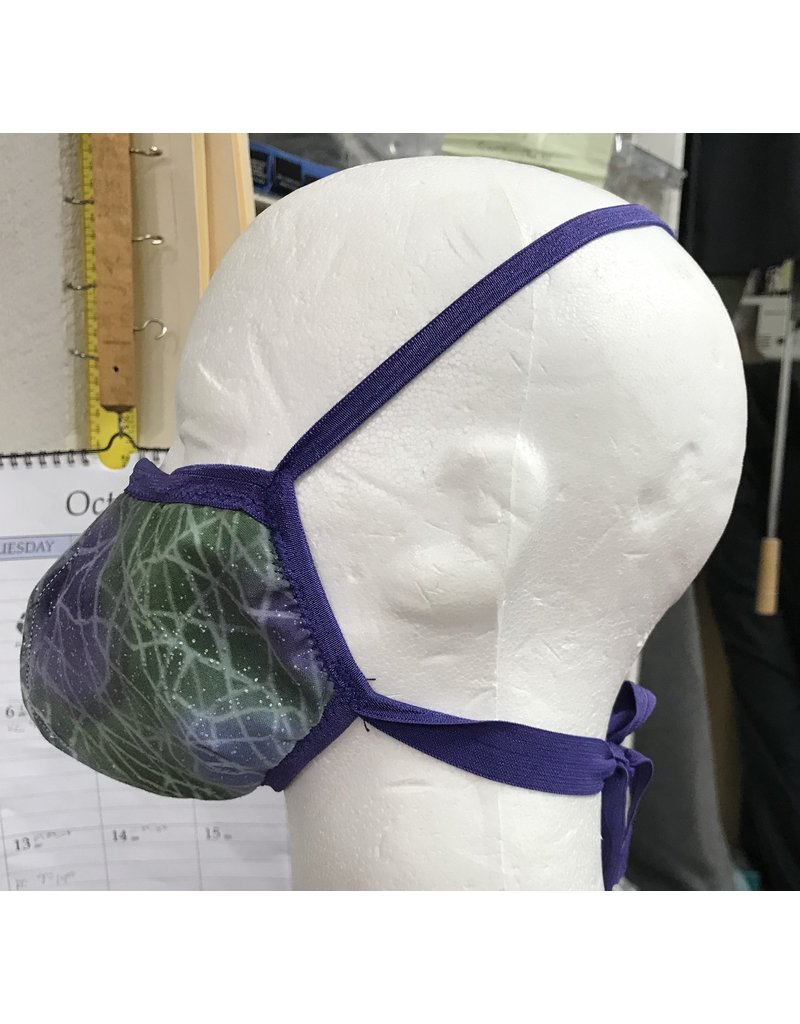Cloak and Dagger Creations 3 Layer Dart Face Mask, Small, Green Purple Lines w/Purple Elastic