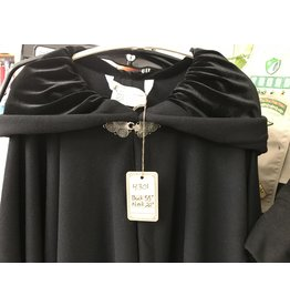 Cloak and Dagger Creations 4301 - Full Circle Cloak, Black Wool Blend, Black Velvet Hood Lining, Pewter Clasp