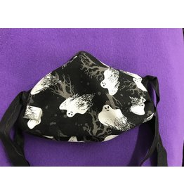 Cloak and Dagger Creations 3 Layer Pleated Face Mask, Swooping Ghosts w/Black Elastic