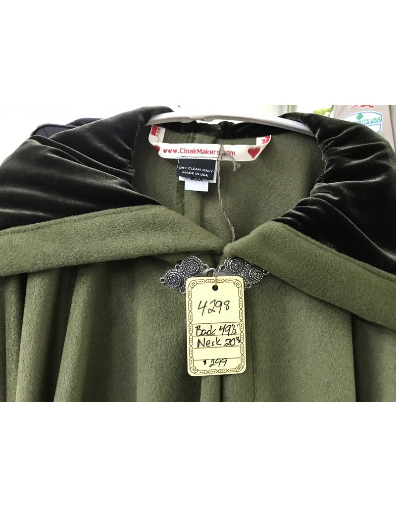 Cloak and Dagger Creations 4298 -  Full Circle Cloak in  Green Wool/Cashmere Blend, Green Velvet Hood Lining, Pewter Clasp