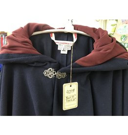 Cloak and Dagger Creations 4299 -Dark Blue Washed Wool Full Circle Cloak, Red Hood Lining, Pewter Clasp