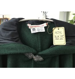 Cloak and Dagger Creations 4296 - Green Wool Blend Full Circle Cloak, Black Moleskin Hood Lining, Pewter Clasp