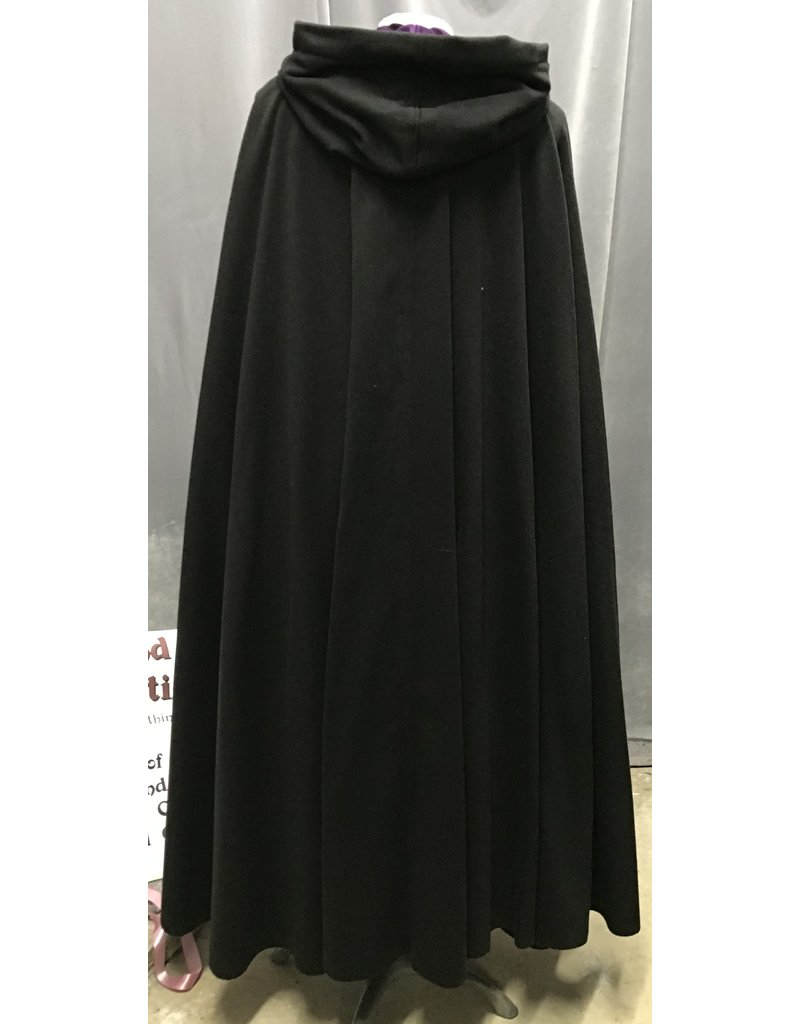 Cloak and Dagger Creations 4220 - Black Wool Blend Full Circle Cloak, Purple Velveteen Hood Lining, Pewter Triple Medallion Clasp