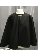 Cloak and Dagger Creations 4229 - Black Wool Collarless Cloak w/Pocket, Pewter Vale Claps