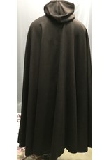 Cloak and Dagger Creations 4255 - Winter Cloak in Mahogany Brown Wool/Cashmere Blend, Black Hood Lining
