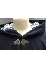 Cloak and Dagger Creations 4269 – Winter Cloak in Bright Navy Wool Blend, Blue Hood Lining, Triple Medallion Clasp
