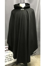 Cloak and Dagger Creations 4270 – Winter Ruana Cloak in Charcoal Gray Wool, Black Hood Lining, Triple Medallion Clasp
