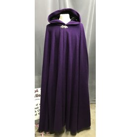 Cloak and Dagger Creations 4271 – Winter Cloak in Purple Wool, Black Hood Lining, Triple Medallion Clasp