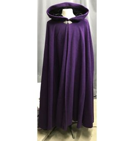 Cloak and Dagger Creations 4275 – Winter Cloak in Purple Wool, Full Circle, Black Hood Lining, Triple Medallion Clasp
