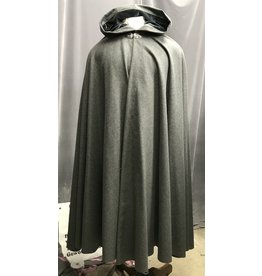 Cloak and Dagger Creations 4273 – Winter Cloak in Heathered Gray Wool Blend, Blue Hood Lining, Triple Medallion Clasp