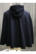 Cloak and Dagger Creations 4276 – Winter Cloak in Bright Navy Wool Blend, Full Circle, Blue Hood Lining, Triple Medallion Clasp