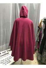 Cloak and Dagger Creations 4312 - Raspberry Red Wrap-Front Fleece Cloak, Snap Closure