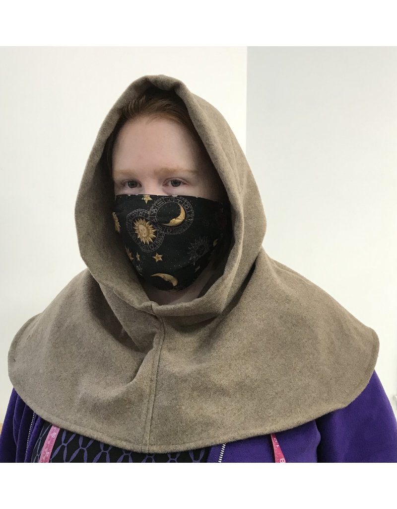Cloak and Dagger Creations H278- Hooded Cowl, Large in Fawn Brown Washed Wool
