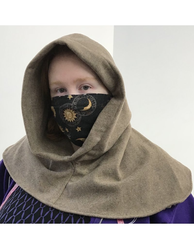 Cloak and Dagger Creations H276 - Hooded Cowl in Washable Fawn Brown Wool