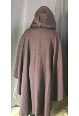 Cloak and Dagger Creations 4260 - Multicolor Wool Ruana-Style Cloak, Blue Hood Lining, Pewter Triple Medallion Clasp