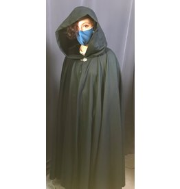 Cloak and Dagger Creations 4259 - Dark Green Wool Full Circle Cloak, Black Hood Lining, Pewter Vale Clasp