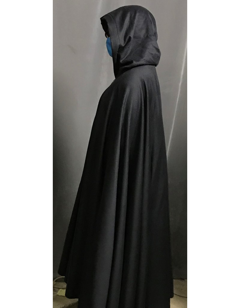 Cloak and Dagger Creations 4258 - Dark Blue Part Cashmere Wool Full Circle Cloak, Green Hood Lining, Pewter Triple Medallion Clasp