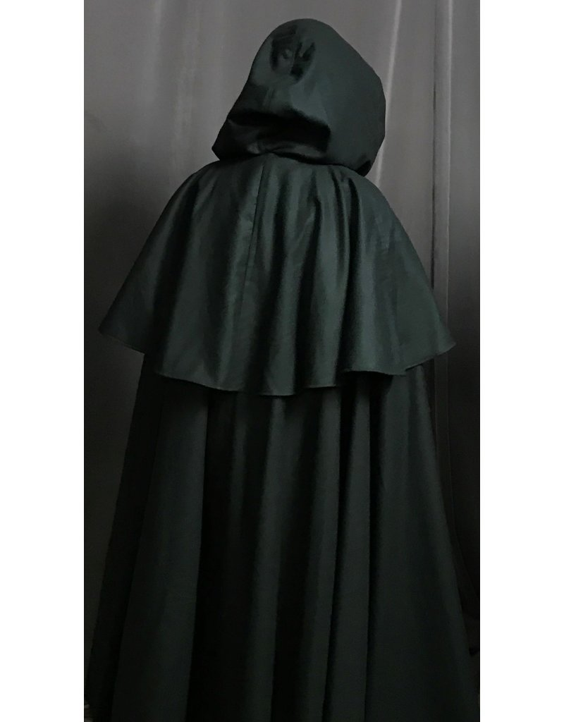 Cloak and Dagger Creations 4261 - Mantled Full Circle Cloak in Dark Green, Brown Velveteen Hood Lining, Pewter Triple Medallion Clasp