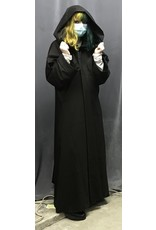 Cloak and Dagger Creations R477 - Darkest Brown Washable Wool Jedi Robe, Straight Sleeves, Generous Hood