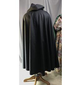 Cloak and Dagger Creations 4320 - Black Full Length Winter Woolen Cloak, Green Hood Lining, Pewter Triple Medallion Clasp