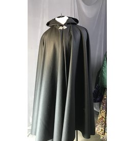 Cloak and Dagger Creations 4322 - Black Long Woolen Full Circle Cloa,, Unlined Hood, Pewter Triple Medallion Clasp