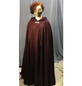 Cloak and Dagger Creations 4310 - Burgundy Red Woolen Full Circle Cloak, Black Hood Lining, Pewter Clasp