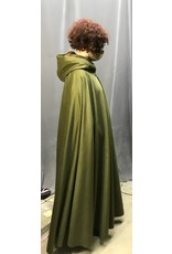 Cloak and Dagger Creations 4302 - Full Circle Cloak in Olive Green Brushed Wool, Brown Moleskin Hood Lining, Pewter Clasp